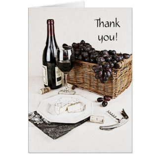 wine bottle, wine glass and cheese thank you note card