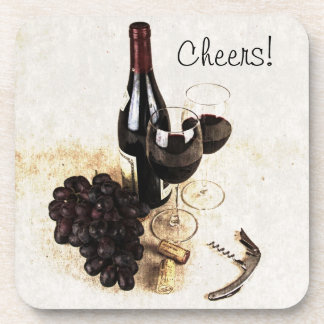 Wine bottle, wine glasses, grape and cork cheers coasters