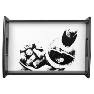 Wine Bottle with Corks Sketch Serving Tray