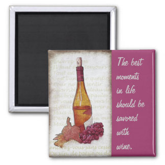 wine bottle with grapes and wine quote square magnet