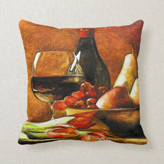 Wine Bottles and Fruit Throw Pillow