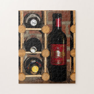 Wine Bottles and Rack Red Black Brown Puzzle