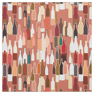 Wine bottles, earth colors, terra cotta background fabric