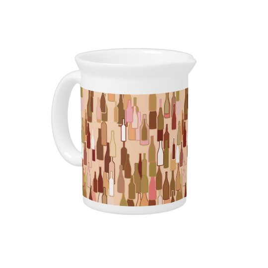 Wine bottles, earth colours, light coral beverage pitcher