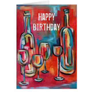 Wine Bottles Glasses Birthday Red Blue Jazzy Artsy Card