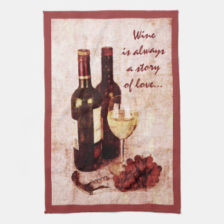 Wine bottles, grapes and wine glass kitchen towel
