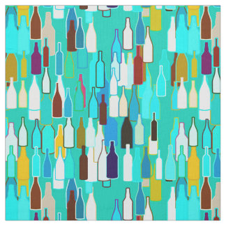 Wine bottles, multi colors, turquoise background fabric