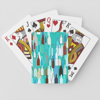 Wine bottles, multi colors, turquoise background playing cards