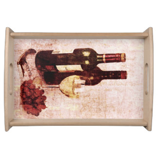 Wine bottles wine glass and grapes serving trays