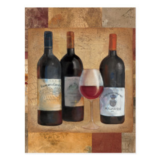 Wine Bottles with Glass Postcard