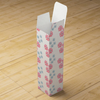 Wine box decorated with pink and blue flowers