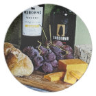 Wine Bread Cheese and Grapes Still Life Plate