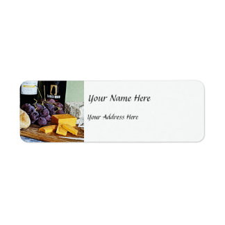 Wine Bread Cheese and Grapes Still Life Return Address Label