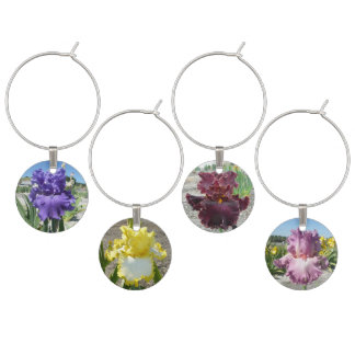 WINE CHARMS WITH IRIS FLOWERS
