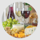 Wine & Cheese Appetizers Round Stickers