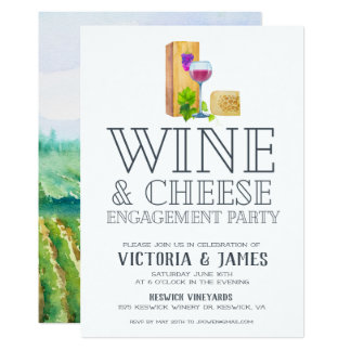Wine & Cheese Engagement Party Card