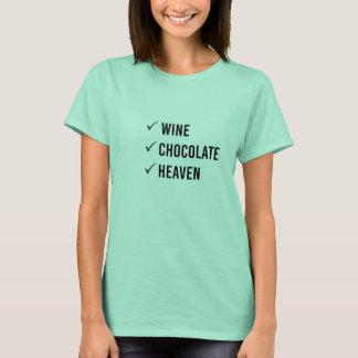 """Wine, Chocolate, Heaven"" Women's Happy List Shirt"