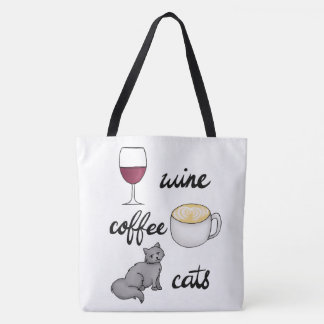 Wine Coffee Cats Tote