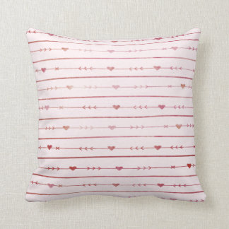 Wine-Colored Hearts and Arrows Throw Pillow