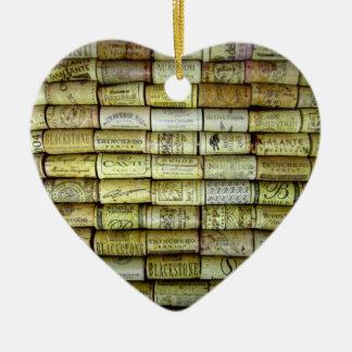 Wine Cork Collage Ceramic Heart Ornament