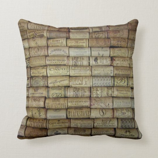 Wine Cork Collage Throw Pillow