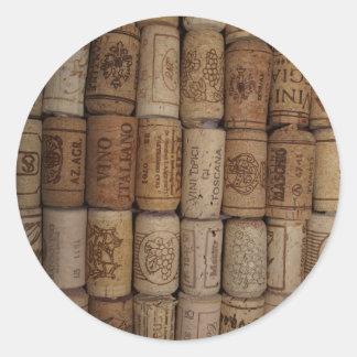 Wine Cork Collection Classic Round Sticker