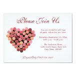 """Wine Cork Heart Invitations 4.5"""" X 6.25"""" Invitation Card"""
