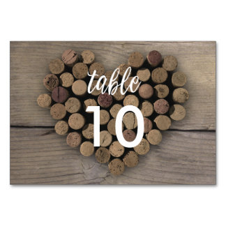 Wine Cork Heart Table Number Card