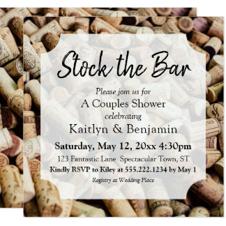 Wine Cork Photo, Stock the Bar Couples Shower Card