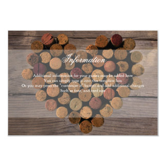"Wine Cork Rustic Information Card 3.5"" X 5"" Invitation Card"