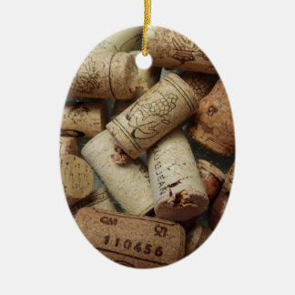 Wine Corks Ceramic Oval Ornament