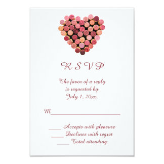 "Wine Corks Heart Wedding RSVP 3.5"" X 5"" Invitation Card"