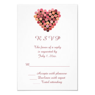 Wine Corks Heart Wedding RSVP Card