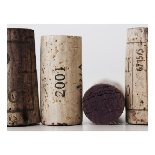 Wine corks with dates postcard