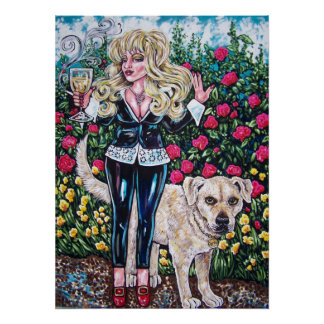 wine diva and dog poster
