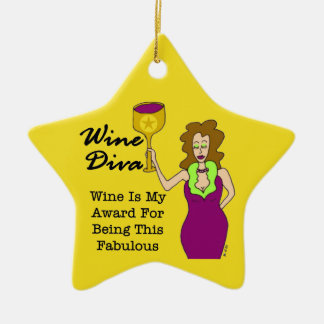 Wine Diva Custom Gold Star Dedication Award Ceramic Ornament