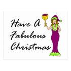 Wine Diva Fabulous Christmas Postcard