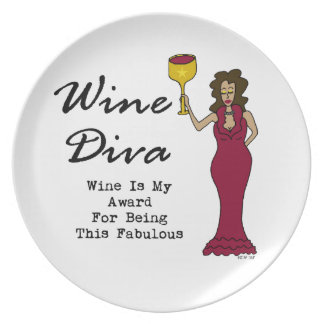 """Wine Diva """"Wine Is My Award For Being Fabulous"""" Plates"""