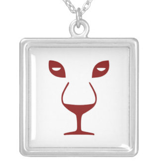 WINE FACE SILVER PLATED NECKLACE
