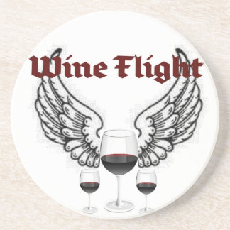 WINE FLIGHT WINGS AND RED WINE PRINT COASTER