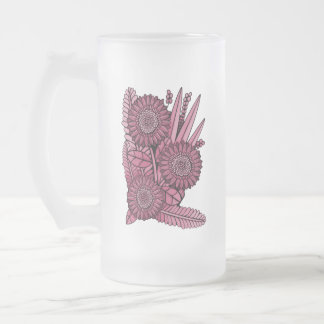Wine Floral Spray Frosted Glass Beer Mug