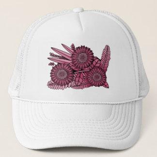 Wine Floral Spray Trucker Hat