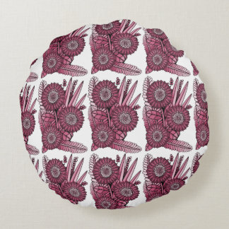 Wine Gerbera Daisy Flower Bouquet Round Pillow