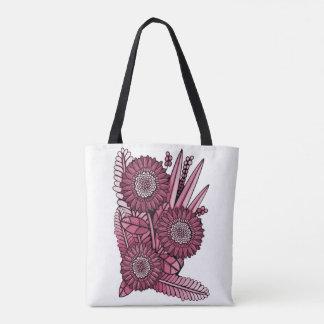 Wine Gerbera Daisy Flower Bouquet Tote Bag
