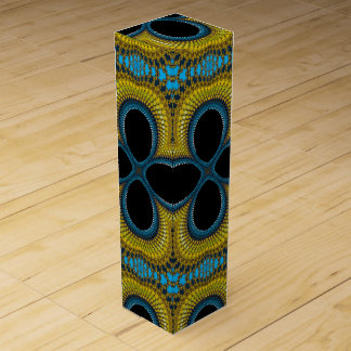 Wine gift box with teal and yellow kaleidoscope