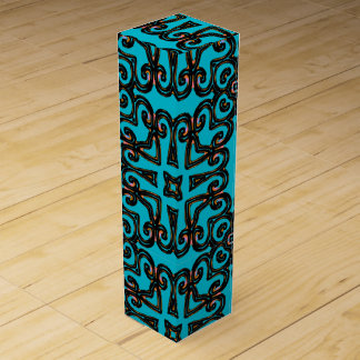 Wine gift box with teal background & ornate print