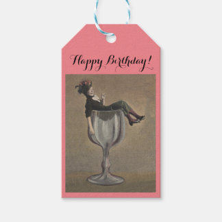 Wine Gift Tags Happy Birthday Party Girl fun
