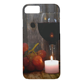 wine glass and candle with grapes iPhone 8/7 case