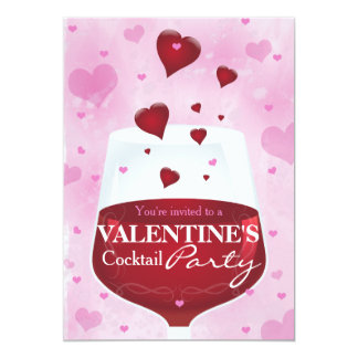 Wine glass and hearts- cocktail party card