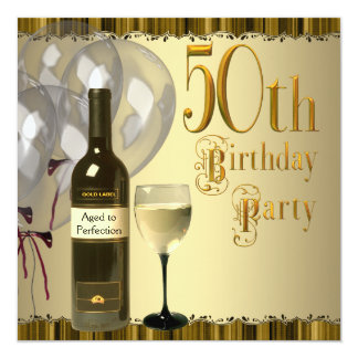 Wine Glass Bottle Gold 50th Birthday Party Custom Invites
